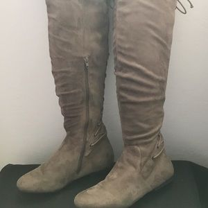 JustFab faux suede knee high boot.